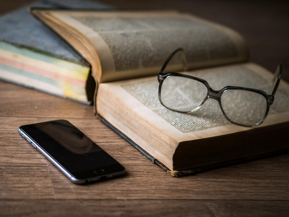 eyeglasses, books, reading, school, study, learning, education, iphone, mobile, technology, office, desk, library, business