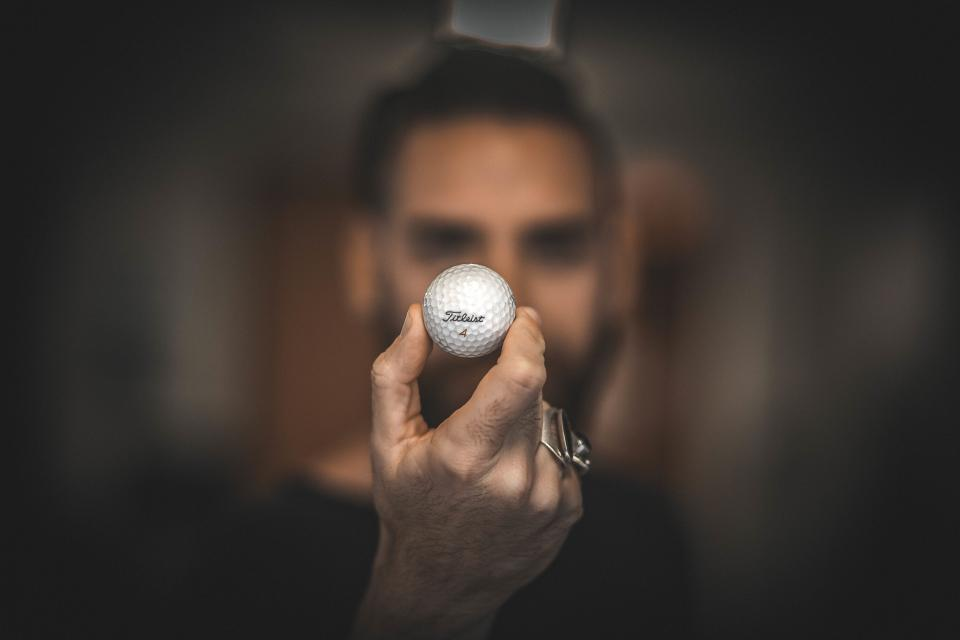 golf, ball, hand, white, titleist, sport, game