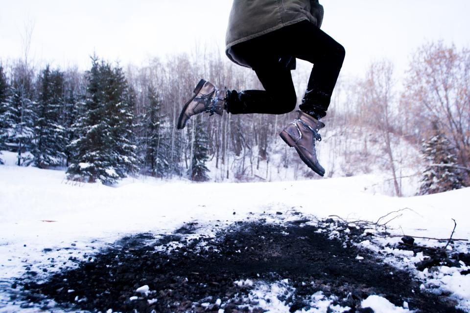 leap, jump, jumping, winter, snow, boots, outdoors, ground, cold, nature, people