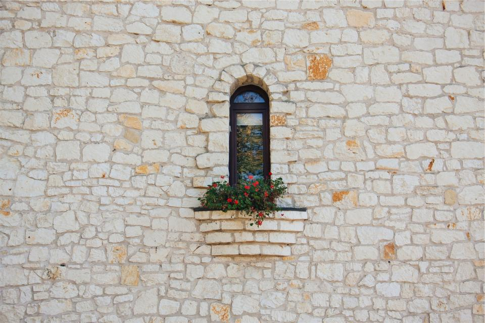 stones, wall, window, sill, flowers, architecture