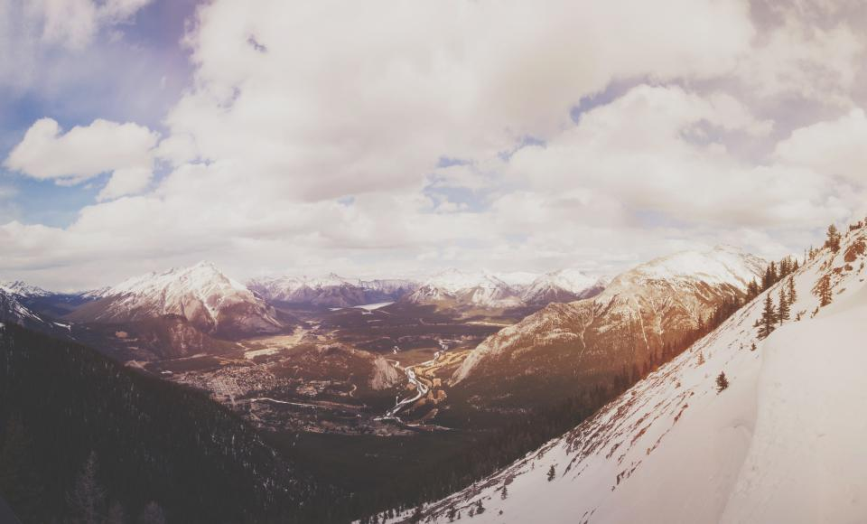 landscape, mountains, hills, snow, peaks, sky, clouds, valleys, nature, outdoors