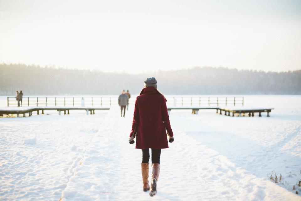 girl, woman, walking, outdoors, snow, cold, winter, fashion, people, nature
