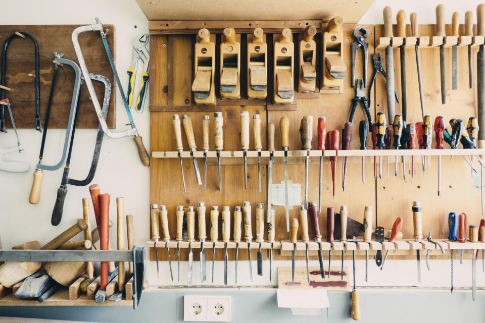tools, workshop, garage, saws, screwdrivers, pliers, hammers, mallets