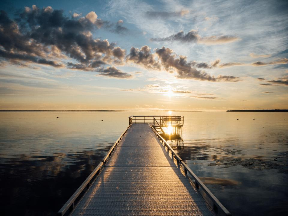 pier, dock, lake, water, sunset, dusk, sky, clouds, reflection, landscape, nature, outdoors