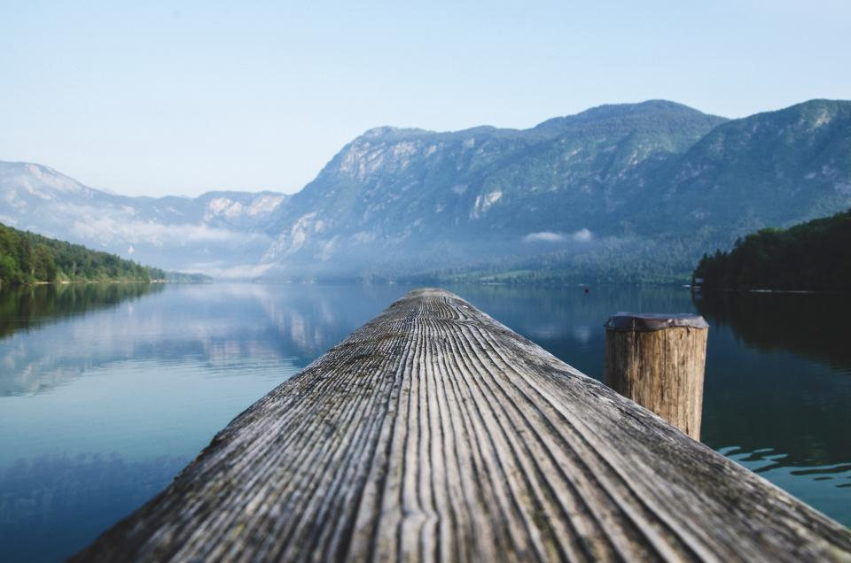 wood, log, lake, water, landscape, nature, mountains, hills, reflection, sky, outdoors, dock