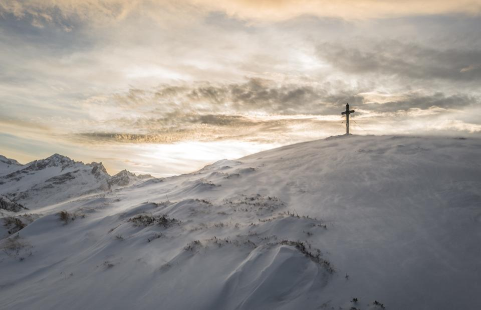 cross, religion, mountains, hills, snow, winter, sky, clouds, outdoors, nature, sunset