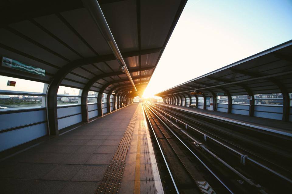 railway, rail, train, station, pattern, perspective, tracks, industrial, metro, travel, transportation, lines, light