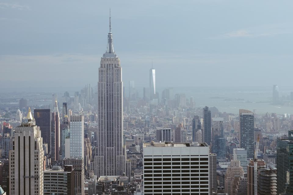 architecture, buildings, city, landscape, smog, skyline, sky, aerial, urban, metro, downtown, high rise, skyscrapers, empire state building, new york