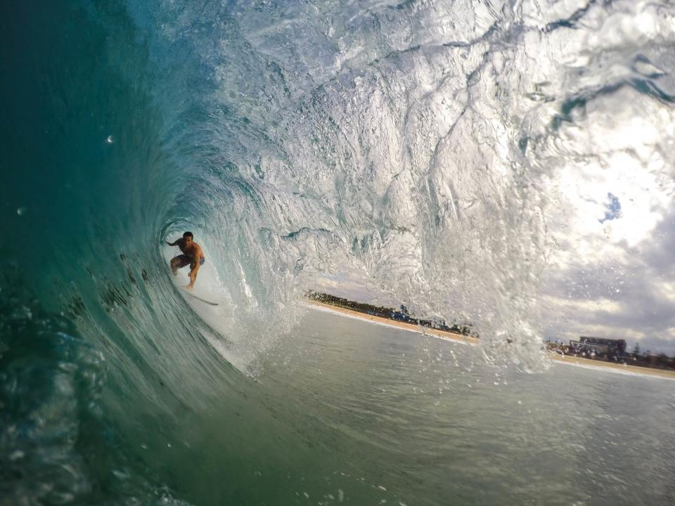 nature, coast, beach, shore, sand, water, ocean, sea, big, waves, tunnel, sky, clouds, trees, guy, man, people, surf, surfboard