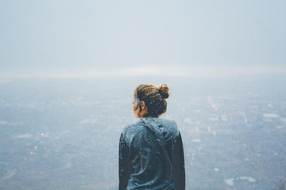 girl, looking, hoodie, cold, snow, people