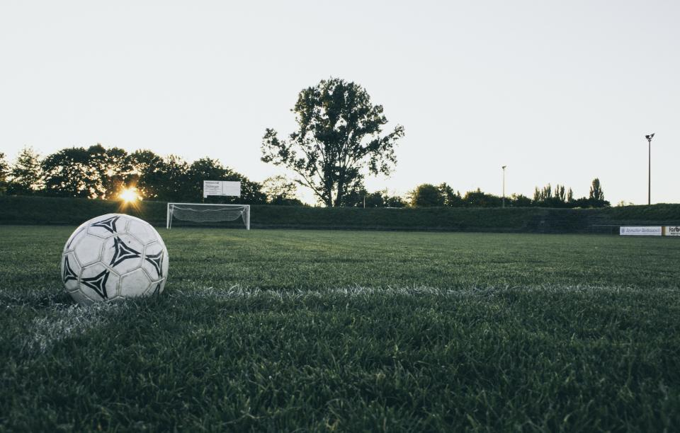 still, items, things, soccer, football, ball, field, grass, goal, post, trees, bushes, sky, sun, peek