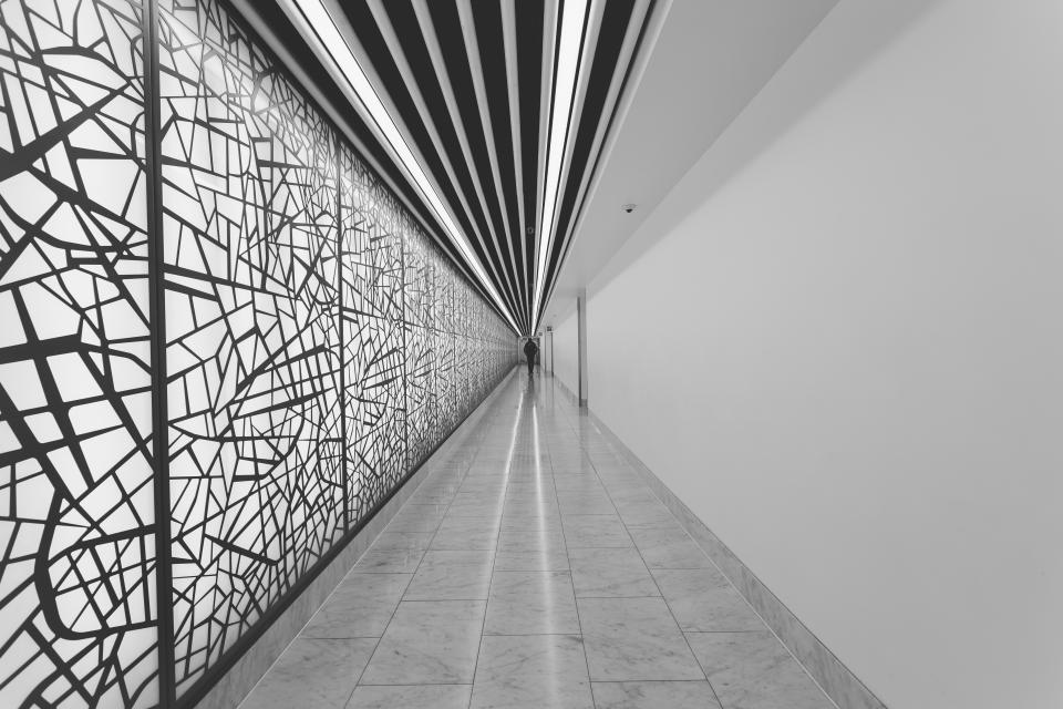 building, architecture, hallway, walls, windows, black and white