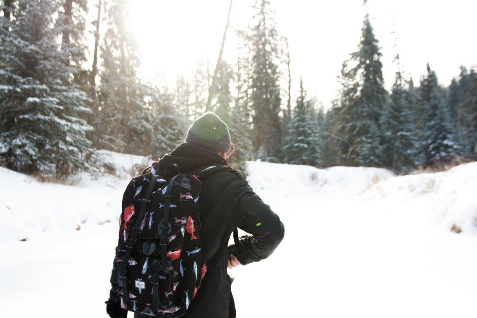 guy, toque, backpack, jacket, beanie, hat, winter, snow, cold, outdoors, people