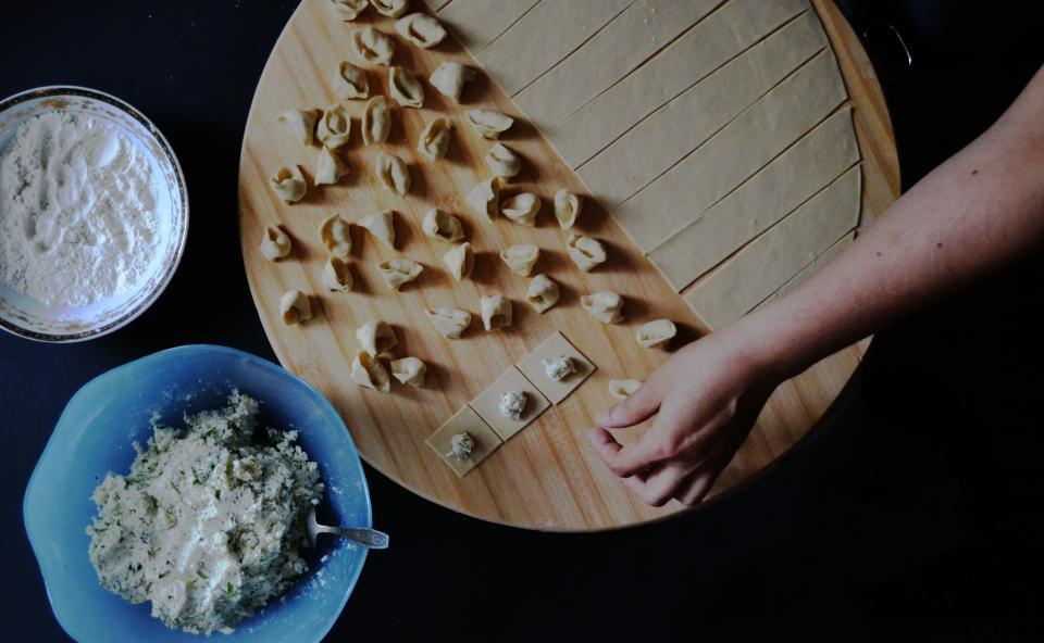 cooking, kitchen, chef, pasta, tortellini, flour, cheese, ingredients, food