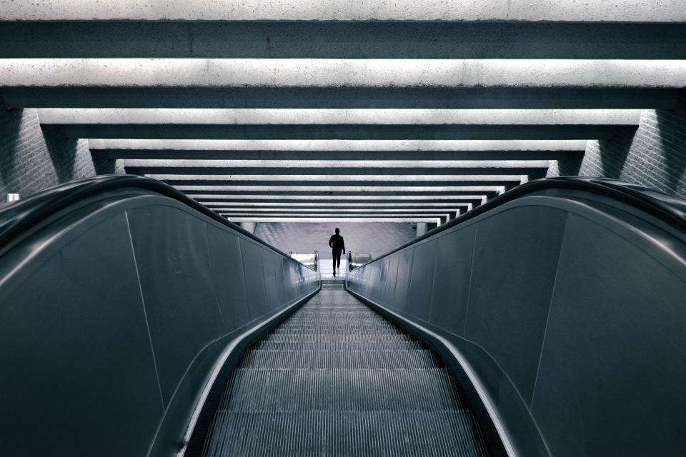 escalator, subway, metro, transportation, urban, people