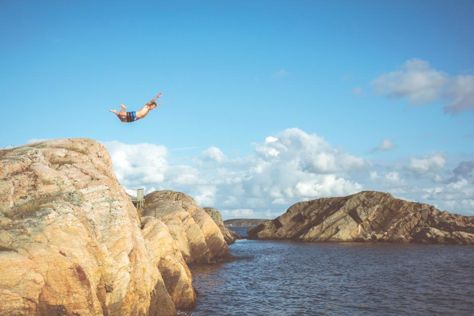 guy, man, diving, swimming, rocks, cliff, summer, sunshine, blue, sky, clouds, outdoors, adventure, nature, lake, water, ocean, sea