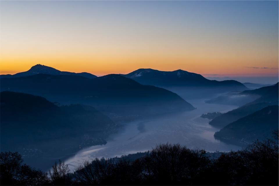 sunset, dusk, sky, landscape, mountains, river, water