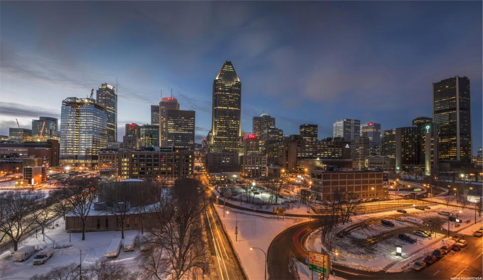 Montreal, city, night, urban, evening, buildings, towers, architecture, winter, snow, roads, sky