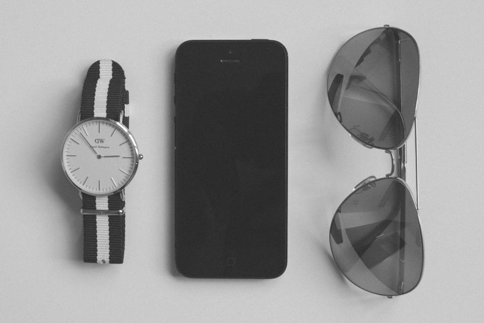 watch, sunglasses, accessories, iphone, mobile, technology, objects, black and white