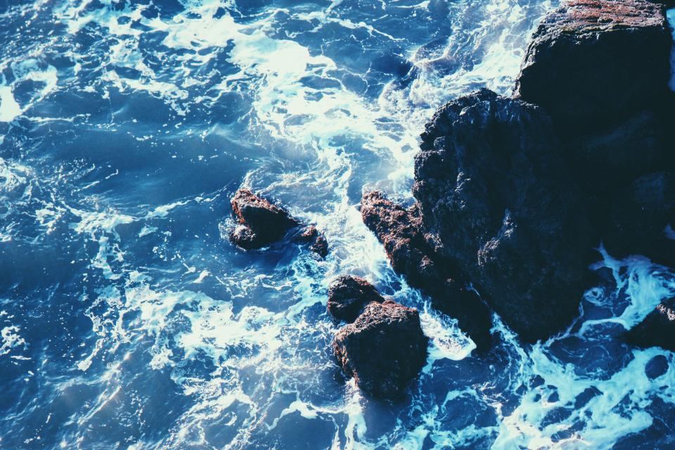 ocean, sea, waves, rocks, summer, sunshine, beach, water
