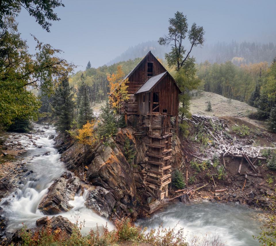 forest, nature, plants, trees, stream, water, autumn, house, hut, wood, rocks, wood, sky