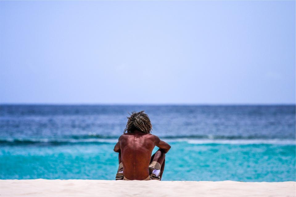 guy, man, dreadlocks, beach, sand, ocean, sea, sunny, summer, people