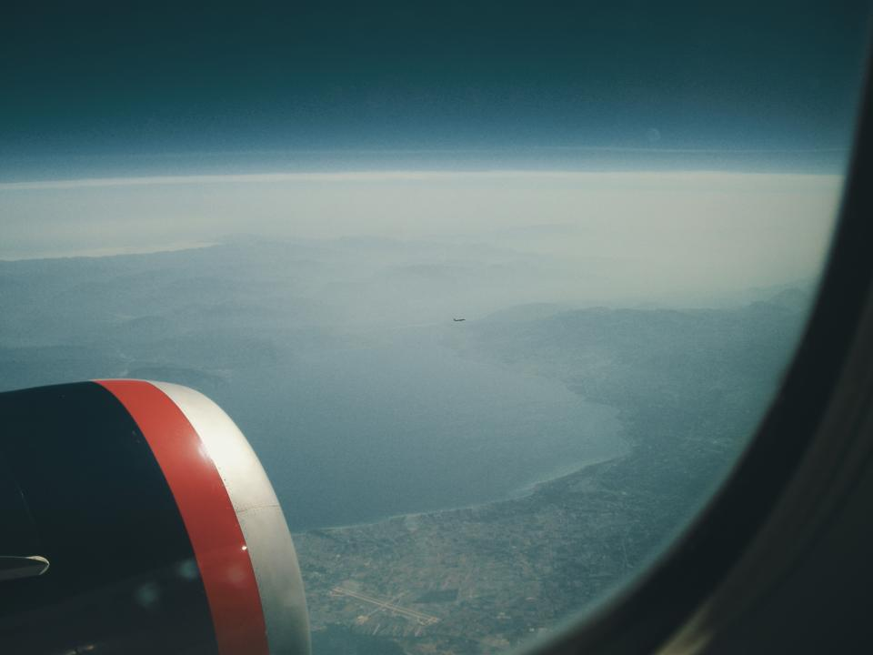 airplane, window, flying, travel, transportation, aerial, view, sky