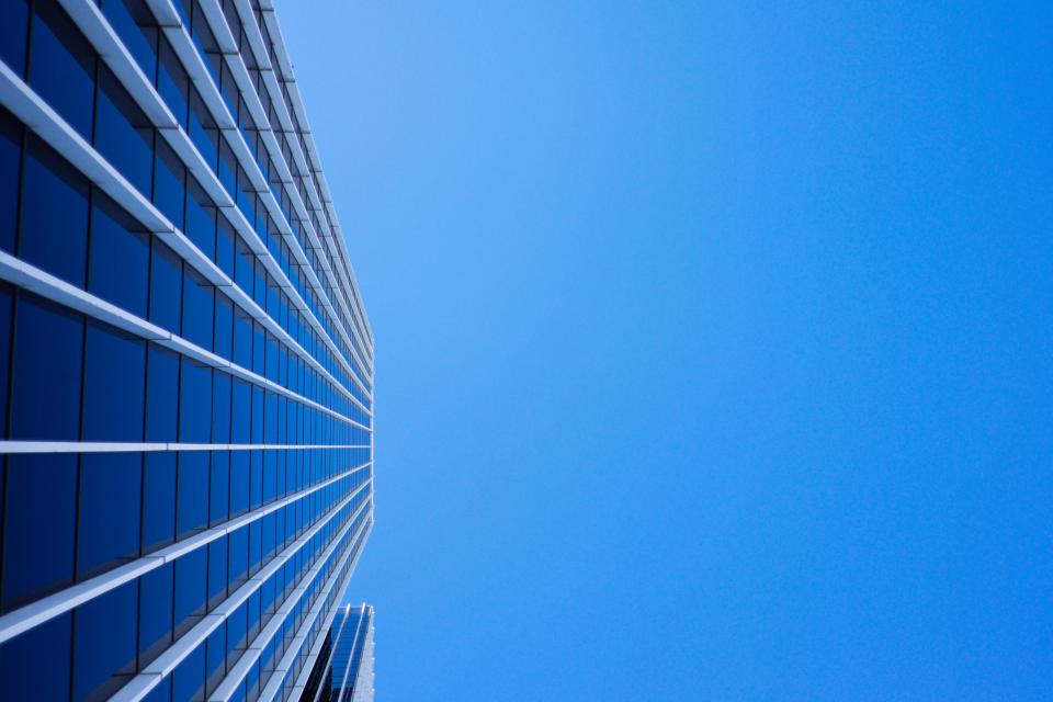 blue, sky, sunshine, building, corporate, business, office, windows