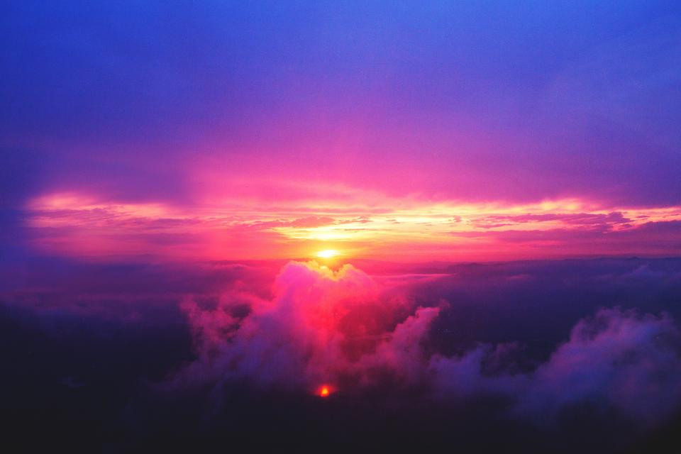 sunset, dusk, sky, purple, pink, clouds, aerial, view, nature