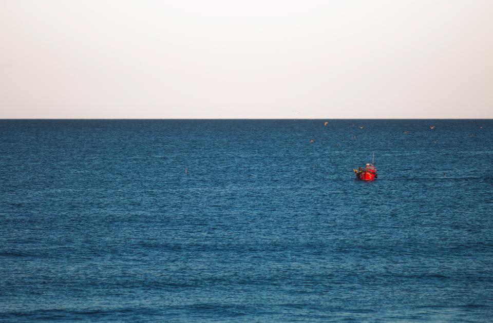 ocean, sea, horizon, blue, water, boat, birds, outdoors, nature