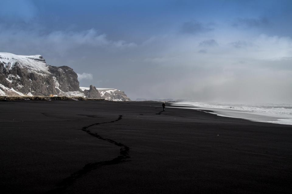 beach, sand, shore, ocean, sea, waves, sky, clouds, rocks, cliffs, snow, landscape, outdoors, nature