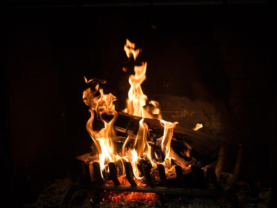 fire, fireplace, flames