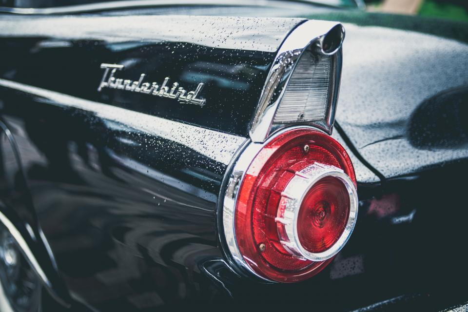 technology, cars, vehicles, automotive, thunderbird, tail, lights, sleek, black, industrial, still, bokeh
