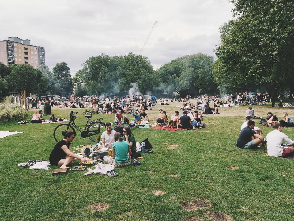 people, men, girls, friends, family, picnic, outdoor, grass, green, food, celebration, eat, drink, party, smoke, talking, sky, trees, building, outside, bike, crowd
