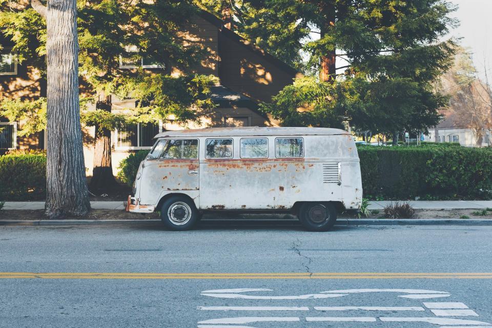hippie, van, vehicle, city, street, road, pavement