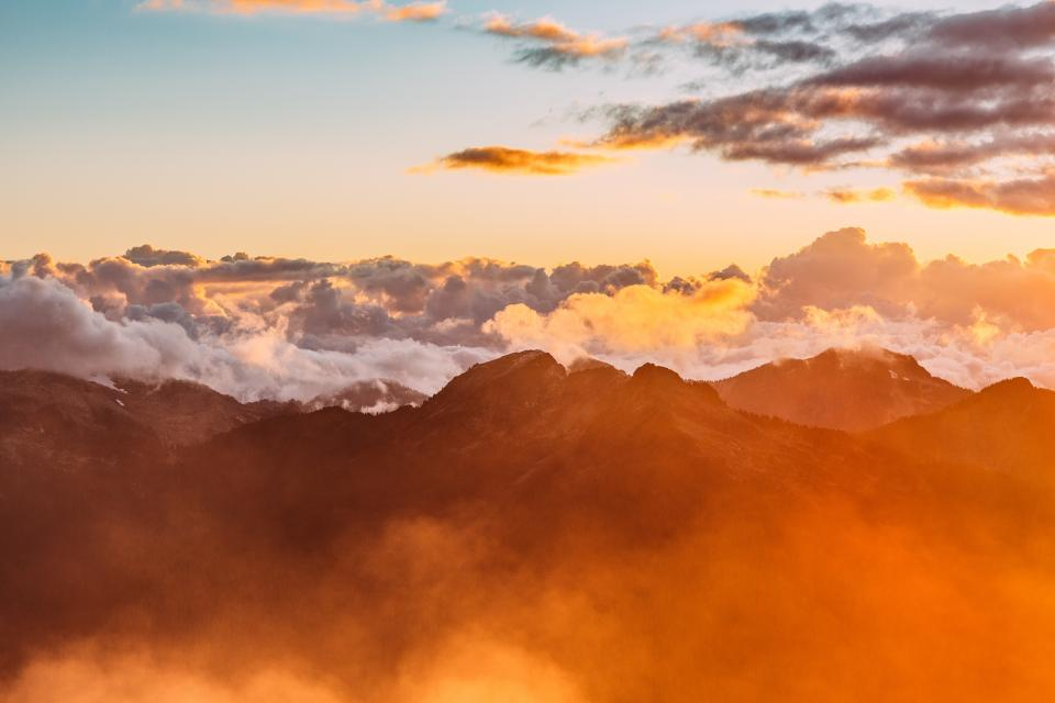 mountains, peaks, summit, sunset, sky, clouds, landscape, nature, aerial, view