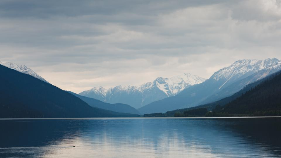 nature, landscape, mountains, slope, summit, peaks, snow, clouds, sky, water, ocean, sea, reflection, white, blue, majestic