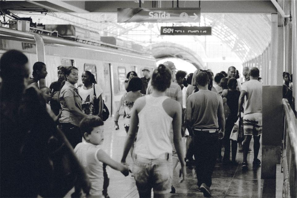 train station, transportation, people, crowd, busy, black and white