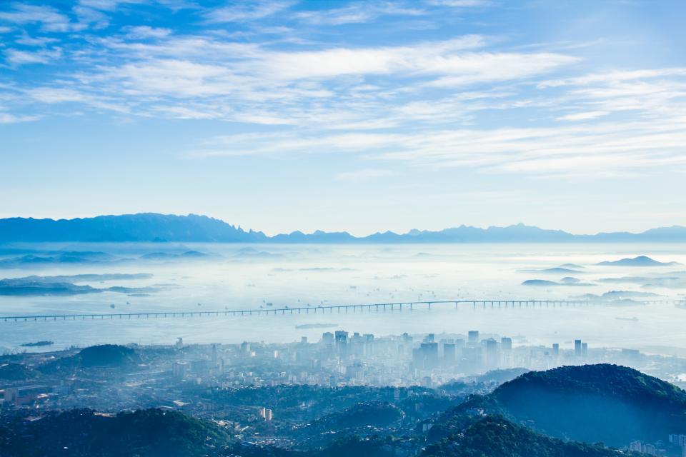 blue, sky, clouds, sunshine, city, aerial, view, landscape, nature, mountains, hills