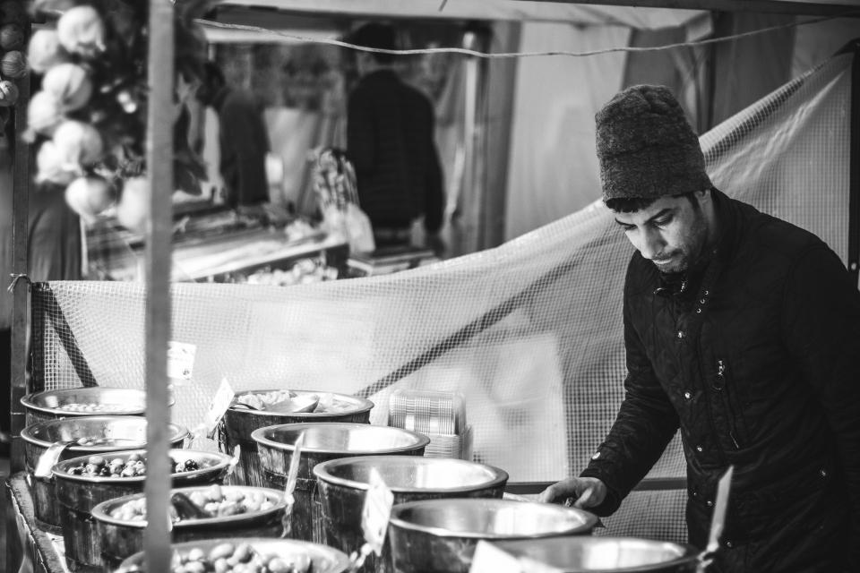 market, bazaar, street vendors, food, guy, man, people, lifestyle, black and white