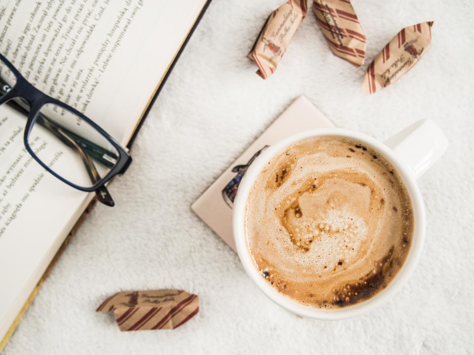 book, reading, eyeglasses, coffee, morning, objects