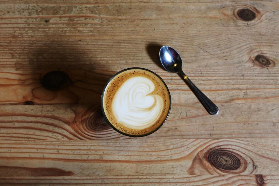 coffee, cafe, latte, cappuccino, heart, cream, foam, spoon, wood