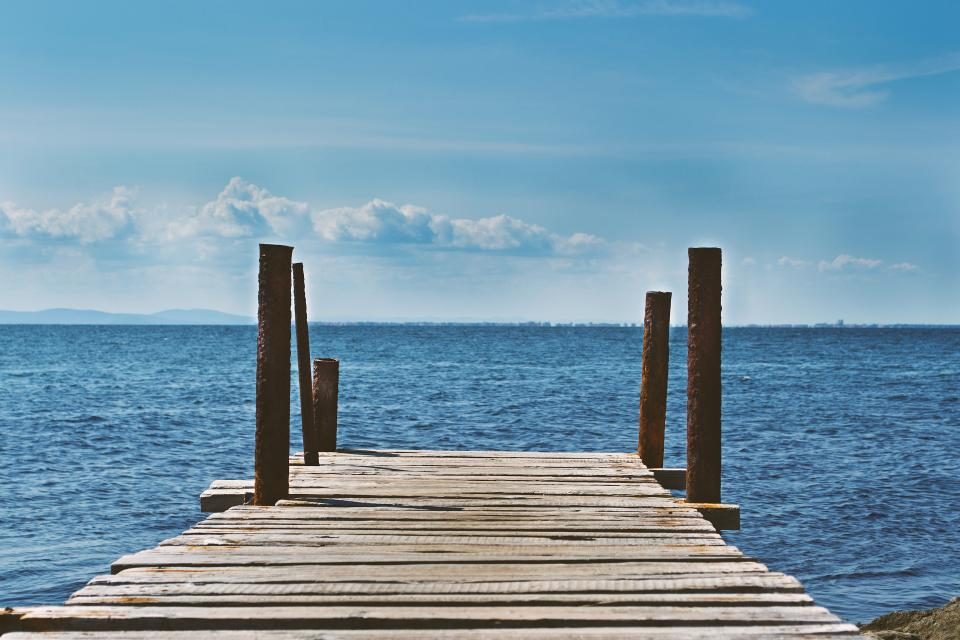 dock, lake, water, blue, sky, clouds, sunshine, outdoors, summer, sea