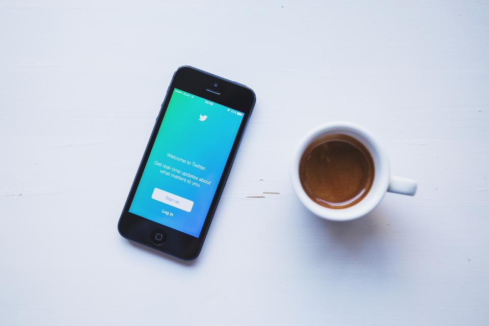 twitter, social media, business, iphone, mobile, smartphone, espresso, coffee, desk