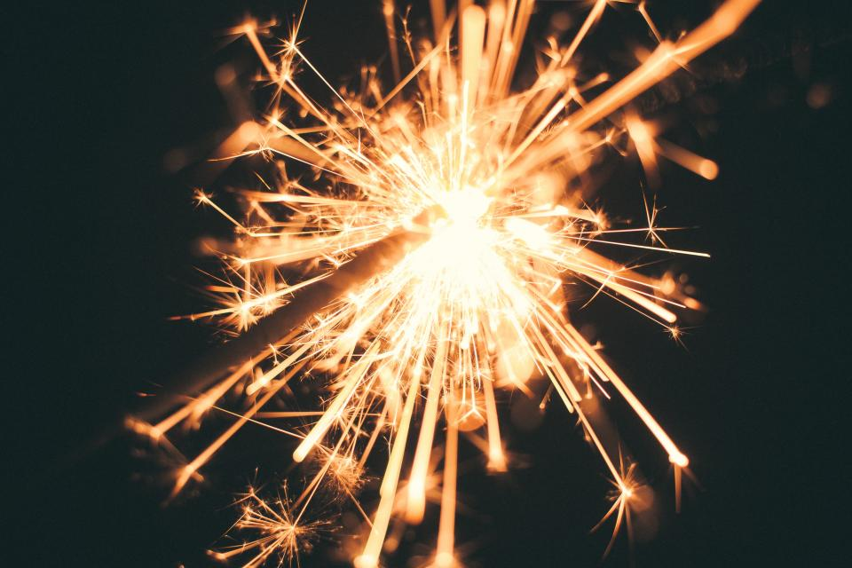 sparks, lights, dark, night, party, celebration