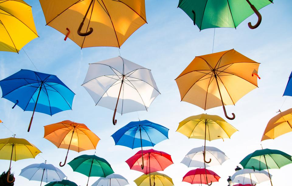 umbrellas, sky, sunshine, summer