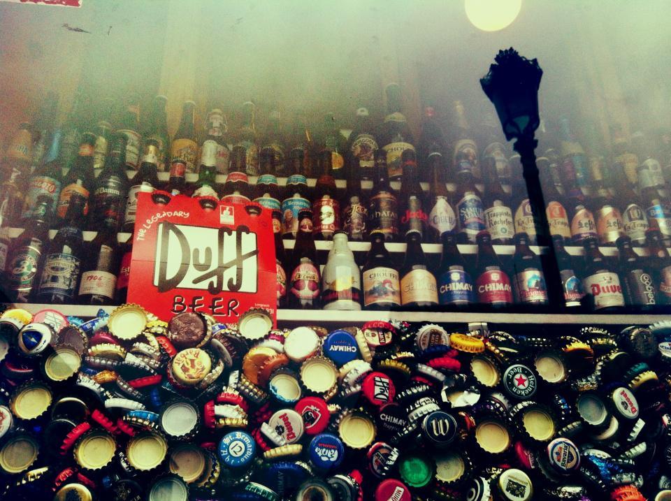 duff, beer, bottles, bottle caps