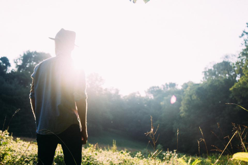 sunshine, sun rays, guy, man, hat, people, forest, woods, trees, nature, summer