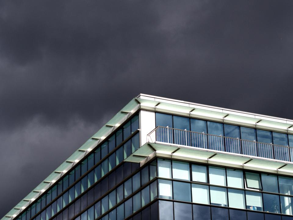 building, windows, architecture, balcony, sky, storm, clouds, cloudy, grey