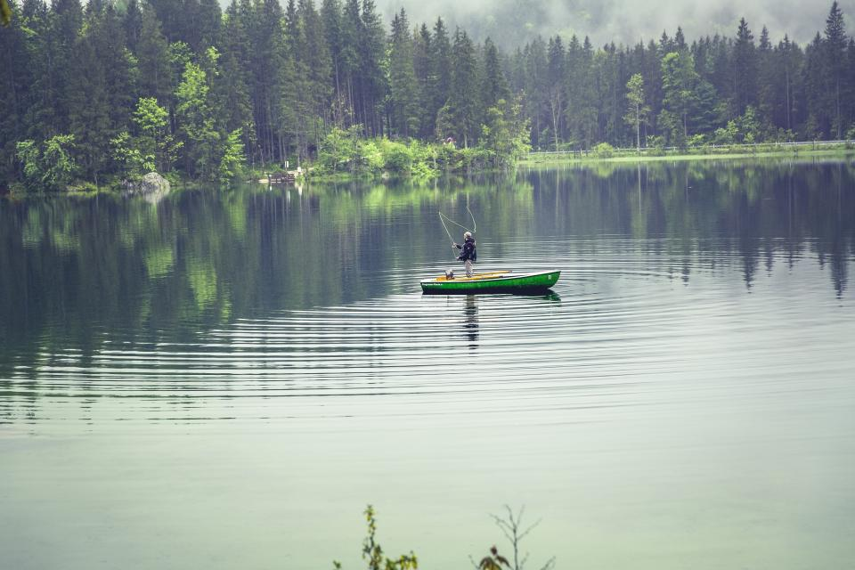 nature, water, lake, sea, reflection, boat, fishing, person, people, forests, trees, sky, clouds